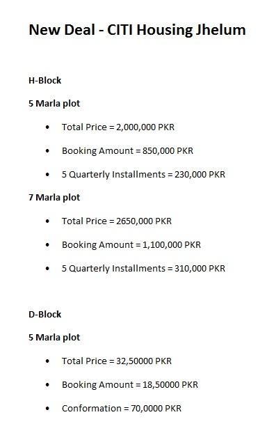 CITI-Housing-Jhelum-Payment-Plan