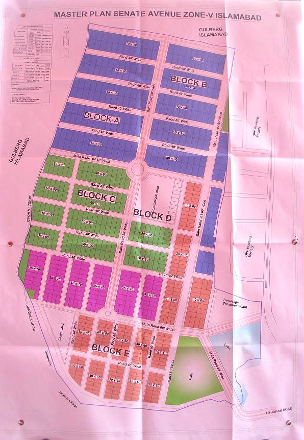 Master plan map Senate Housing Society Islamabad