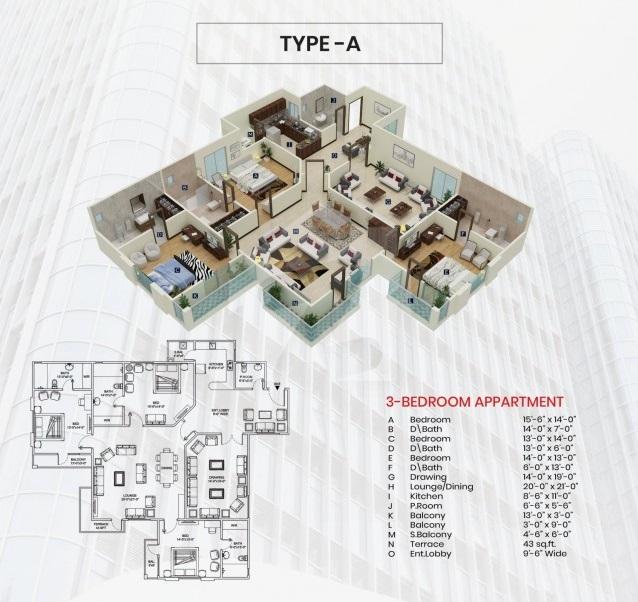 Third-Floor-Type-A-plan-maymar-pride-karachi