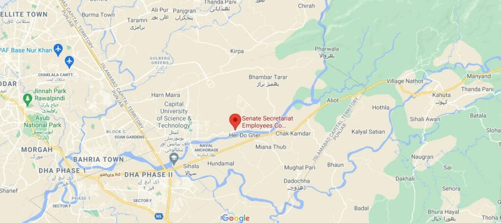 location map Senate Housing Society Islamabad