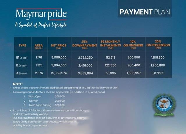payment-plan-maymar-pride-karachi