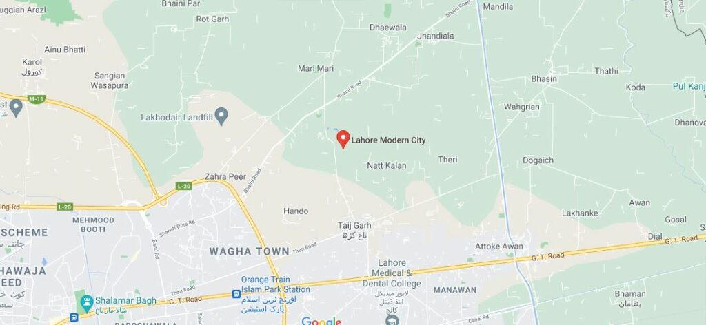 Location-Map-Lahore-Modern-City