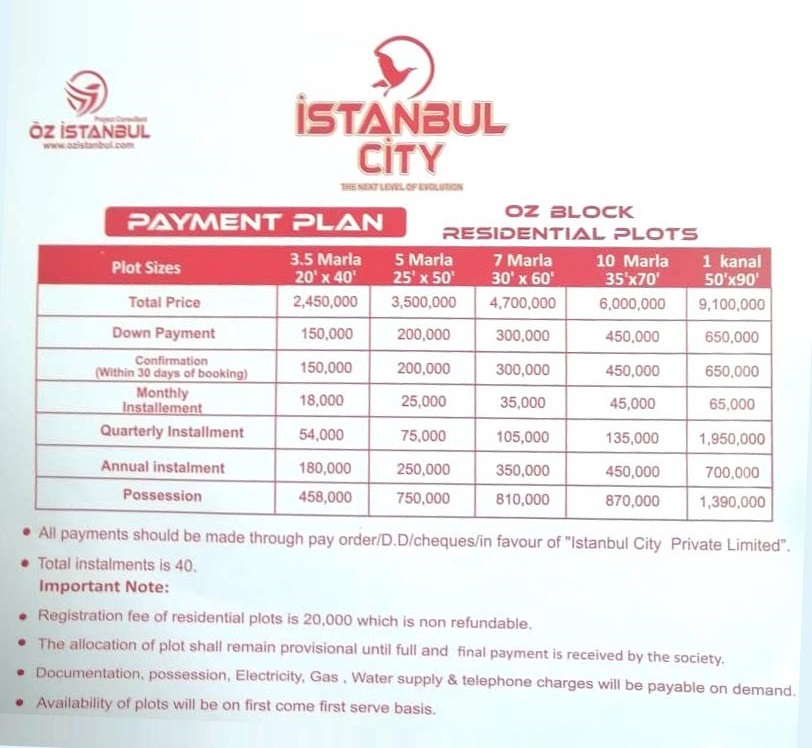 Payment-Plan-Istanbul-City-Islamabad