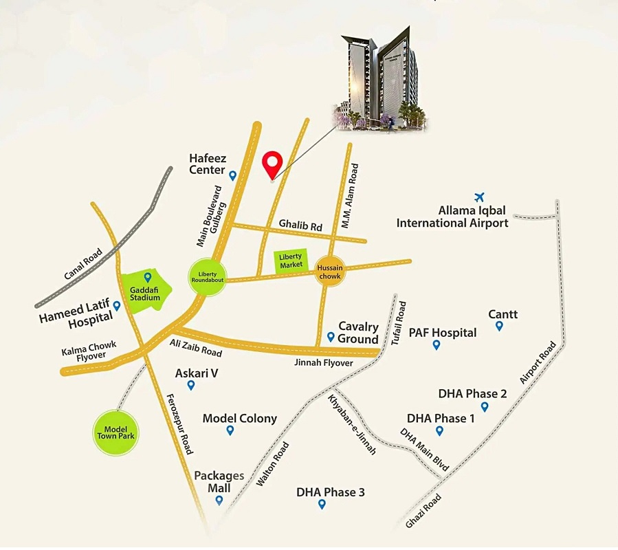 Sitara-Serene-Tower-Lahore-–-Location-Map