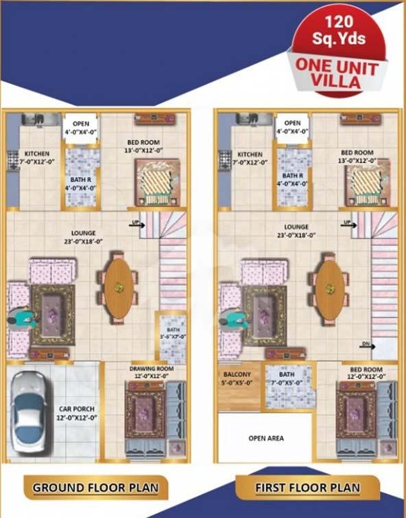 120-Sq-Yrard-One-Unit-Villa-Layout-Plan2-North-Town-Villas