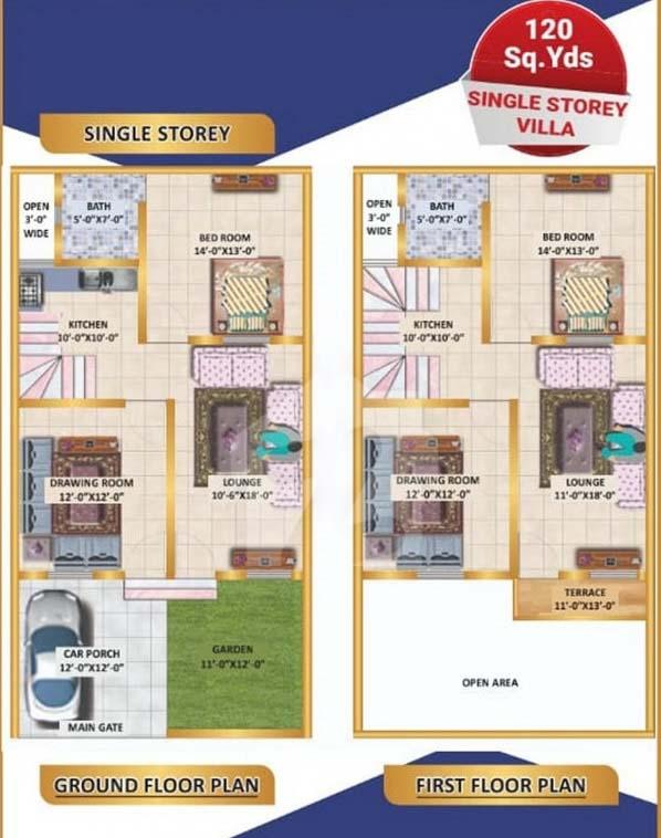120-Sq-Yrard-One-Unit-Villa-layout-plan-North-Town-Villas