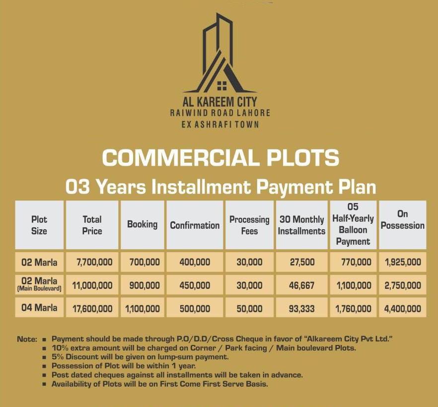 Commercial-Plot-Payment-Plan-Al-Kareem-City-Lahore